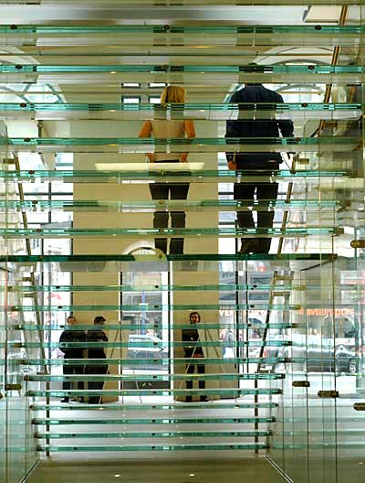 Glass stairs in Apple Store, London