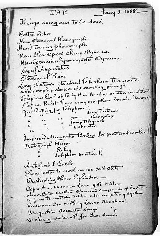 First page of Edison's to-do list.