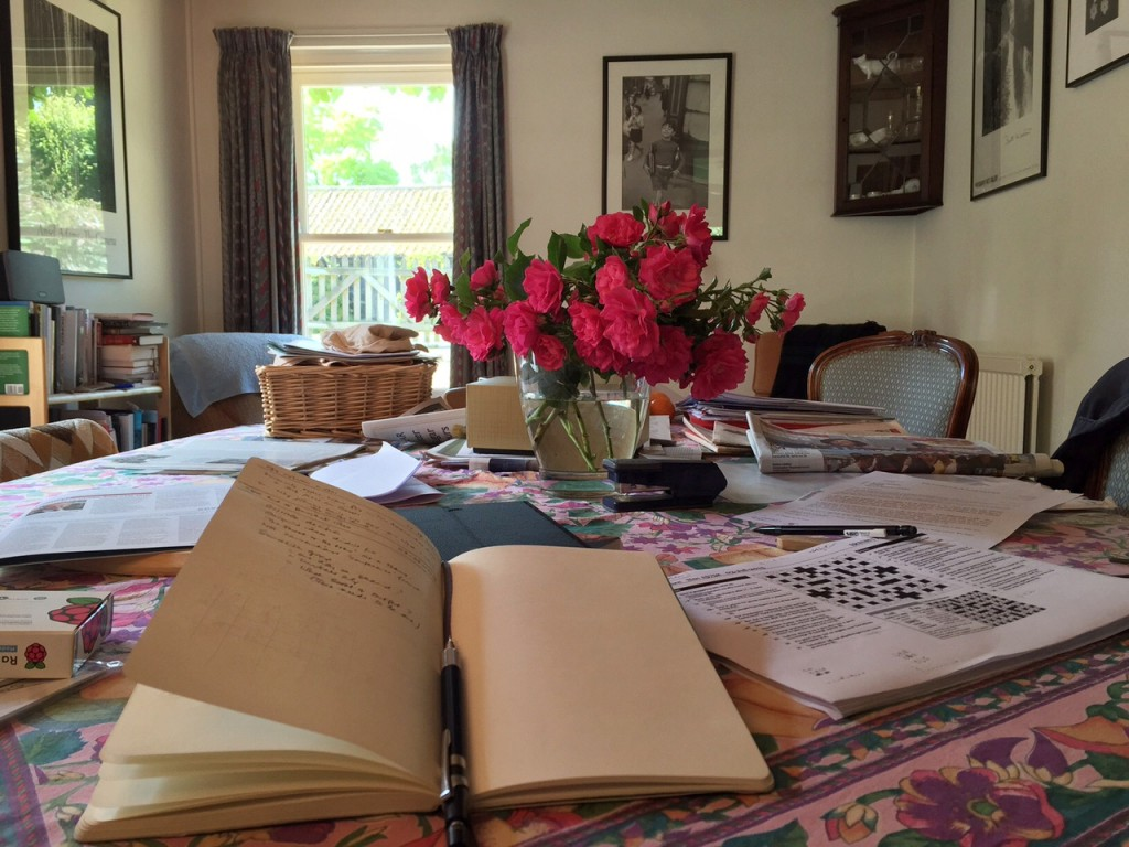 Still life with moleskine and roses